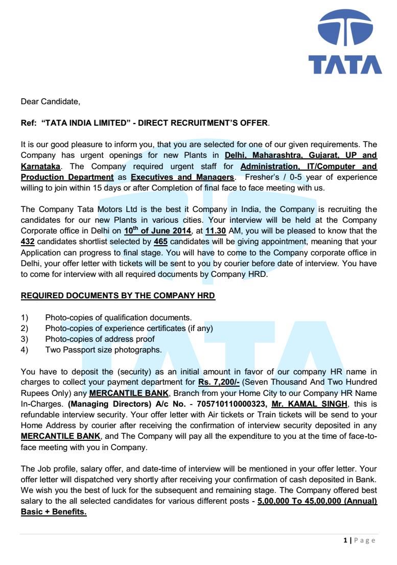 fake job offer letter apology letter  andhra