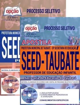 Apostila Secretaria de Educação de Taubaté: PROFESSOR I - PROFESSOR DE EDUCAÇÃO INFANTIL.