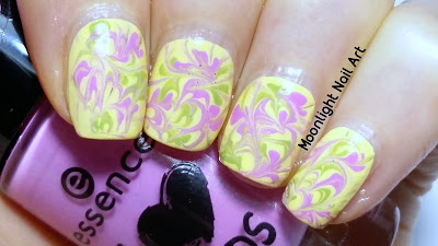 Sping Drag Dry Marble Nail Art Design