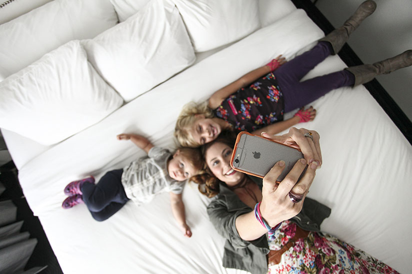 Amy West and daughters take a selfie at the B Historic
