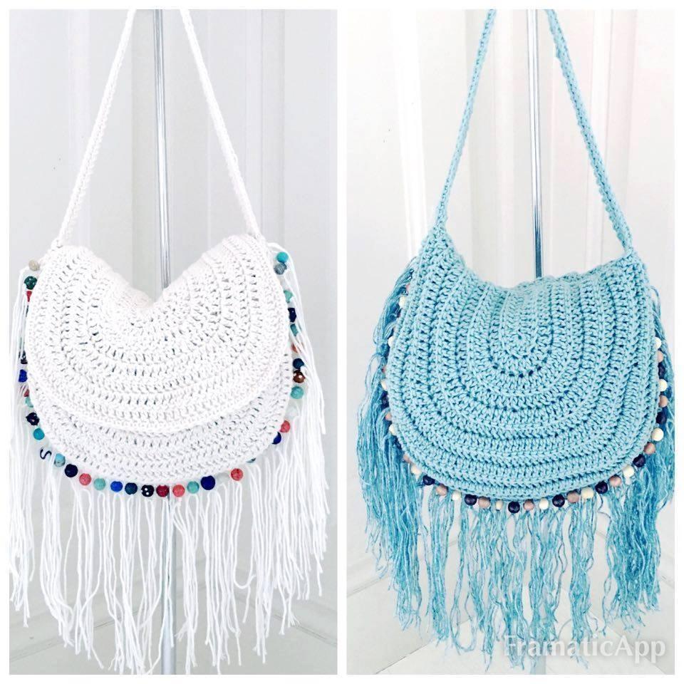 Crochet Festival Beaded And Fringed Handbag By Annoo Designs
