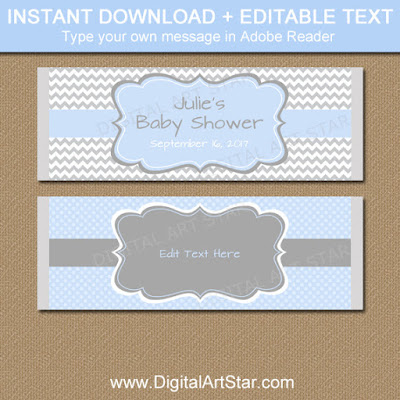 baby boy shower chocolate favors downloadable candy bar labels
