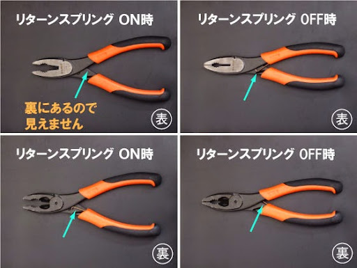 BAHCO(バーコ)のペンチ、プライヤー、ニッパ、ラジオペンチ達。画像は2628G-160の強力ペンチ。標準でリターンスプリングのON/OFF切り替えが出来るので非常に便利だし重宝します。