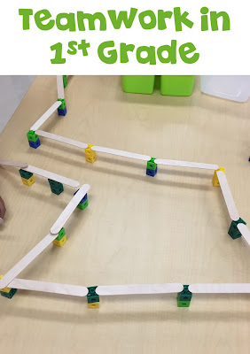 First Grade STEM: After each student built their individual bridges and we shared them, I then asked them to put all their materials together and build one big bridge. Cceck this blog post for more!