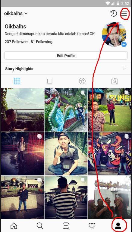 Menu Lainnya di Halaman Profile Instagram.