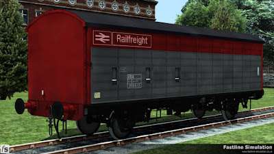 Fastline Simulation: Moving forward in time this example of lot 3840 has gained a sparkling coat of Railfreight flame red and grey livery along with the correct TOPS code!