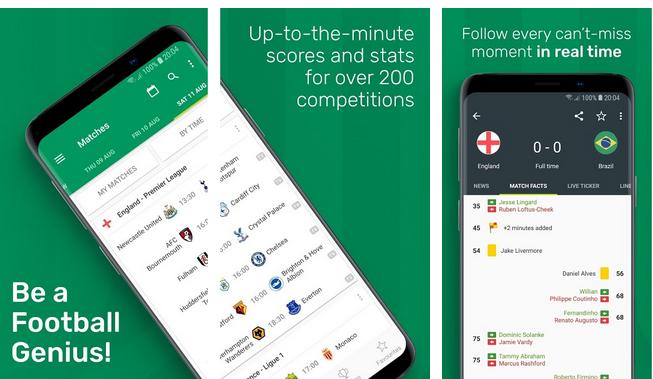 تابع نتائج مباريات كرة القدم بهذا التطبيق Soccer Scores Pro