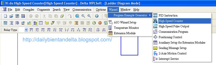 Chọn chức năng lập trình High Speed Counter trong PLC Delta