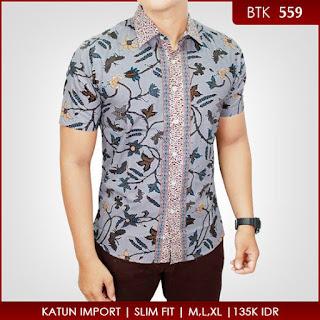 Model Baju Batik Cowok Kombinasi Embos