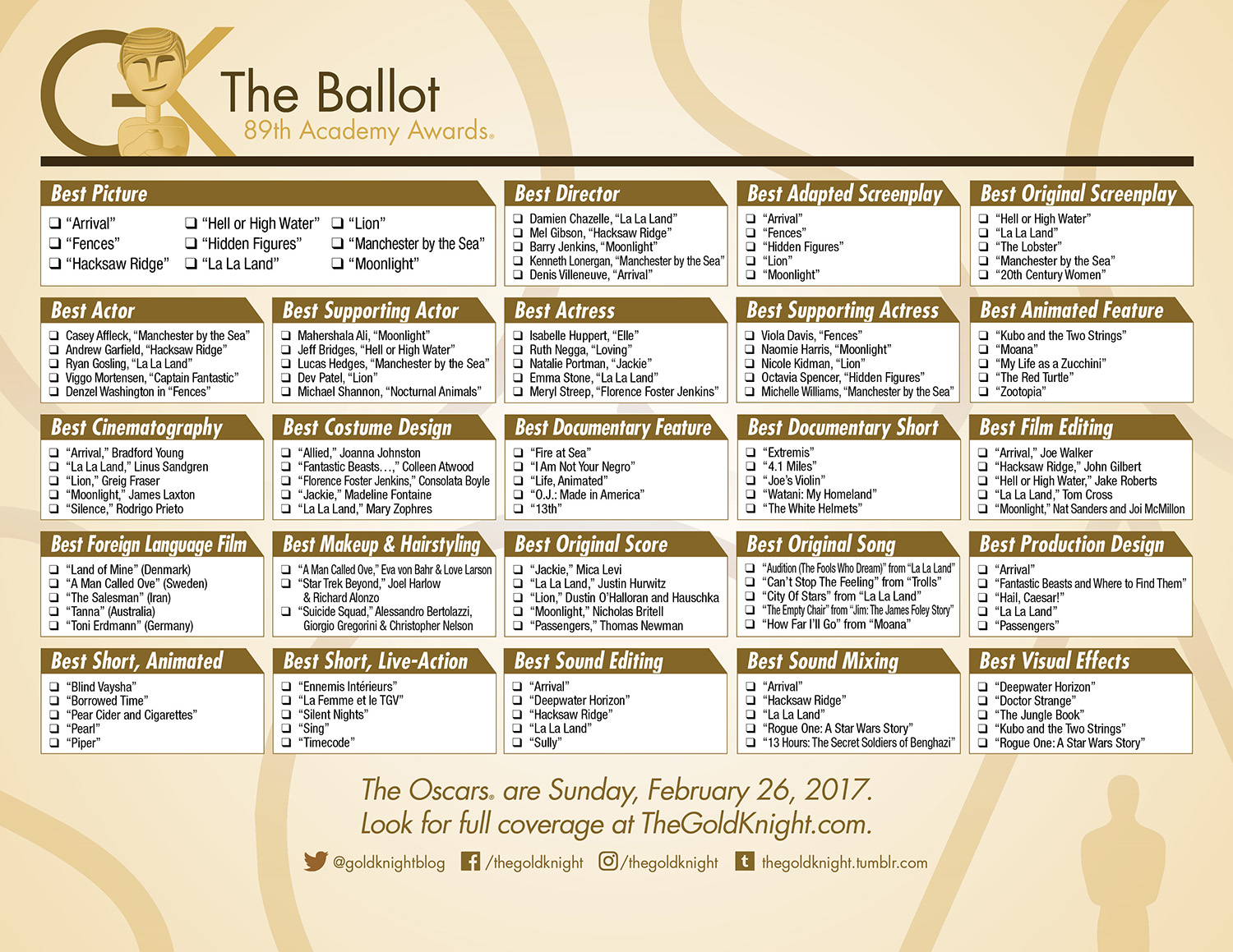 photograph relating to Golden Globe Ballot Printable called Oscars 2017: Obtain our printable ballot The Gold Knight