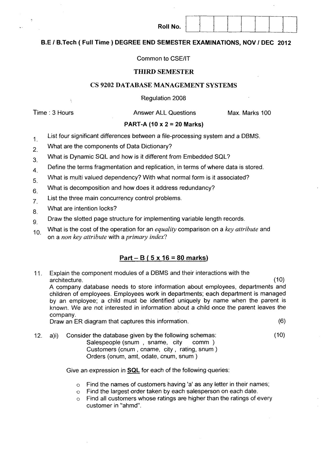 Advanced Database Management System Tutorials And Notes Cs9202 Anna University Questions Systems November December 2012 Common To Be Btech Cse It