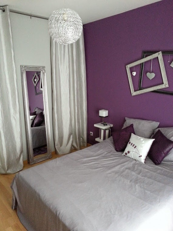 habitaciones en violeta y gris plata dormitorios colores. Black Bedroom Furniture Sets. Home Design Ideas
