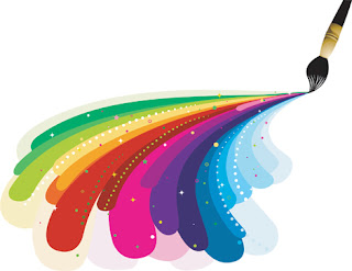Clipart Image of a Paintbrush And Multi-Coloured Paint Splashes