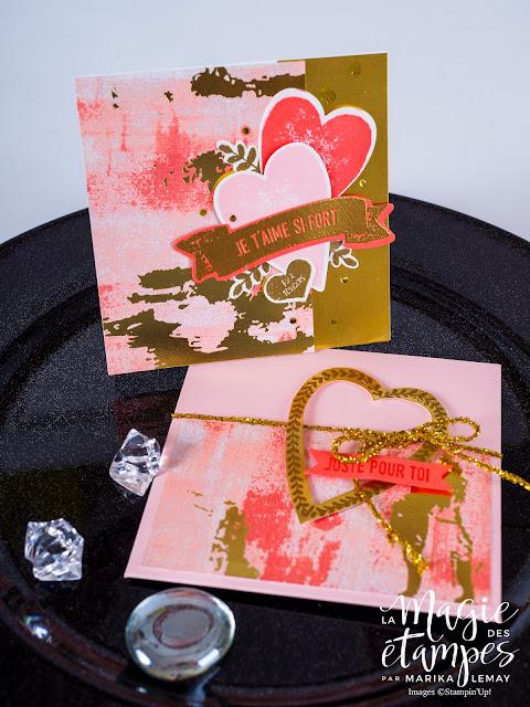 Carte de St-Valentin Stampin'Up! faite avec le jeu d'étampes Je t'aime si fort