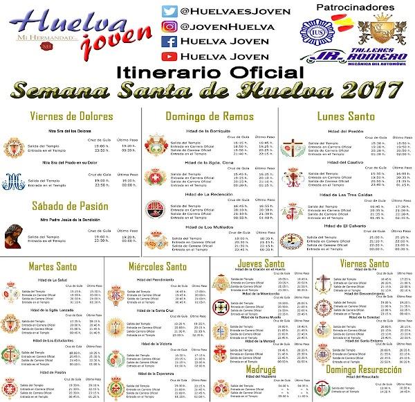Horarios e Itinerarios Semana Santa de Huelva 2017: Huelva Jovén