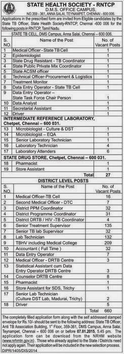 State Health Society Tamil Nadu (RNTCP) Recruitments (www.tngovernmentjobs.in)