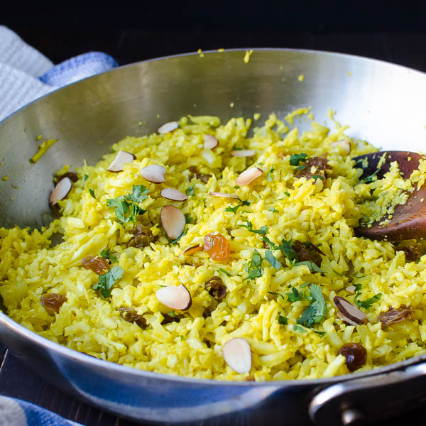 Curried Cauliflower Rice Pilaf by Garlic and Zest