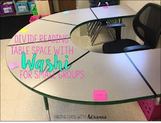 Divide your reading table into sections to create dry erase boards. Use them for word building, responding to reading, and even questioning.