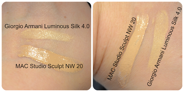 Vergleich Swatch Mac Cosmetics Studio Sculpt NW 20 NW20 Giorgio Armani Luminous Silk Foundation 4.0