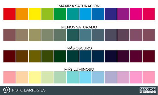variaciones en brillo y saturación de los mismos tonos