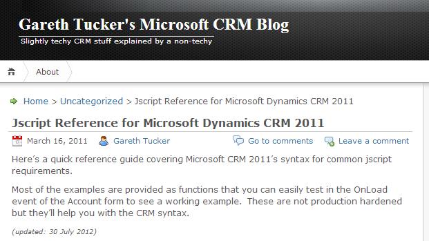 MS Dynamics CRM 2011 Quick Ref  Javascript | xRM Consultant