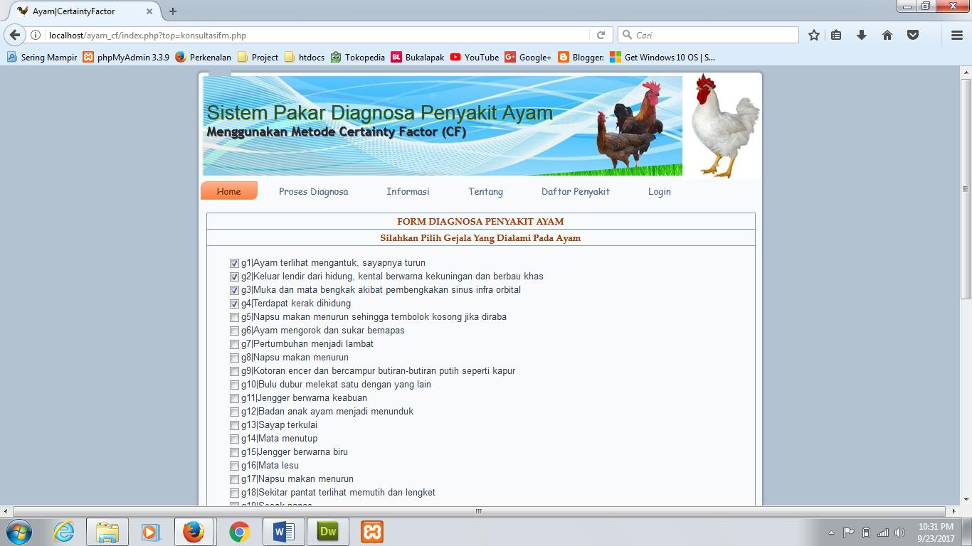 Piramida Skripsi Sistem Pakar Diagnosa Penyakit Ayam Menggunakan Metode Certainty Factor Berbasis Web Php Mysql