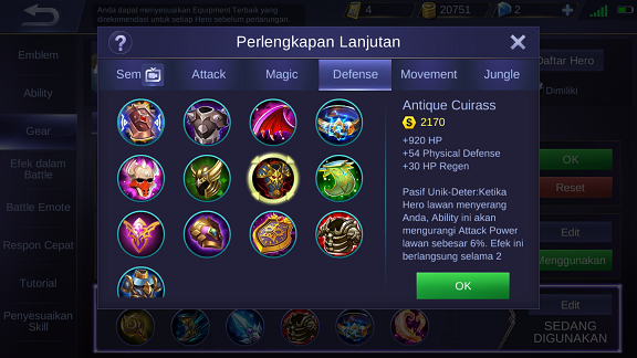 Antique Cuirass Mobile Legends