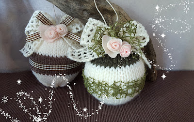 pallina natale lana fiori feltro