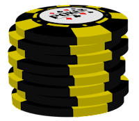 yellow on black poker chip stack
