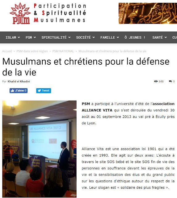 Participation de PSM à l'université d'été d'Alliance Vita en 2013