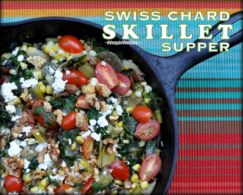 Swiss Chard Skillet Supper with Tomatoes, Corn, Fresh Dill & Feta ♥ AVeggieVenture.com