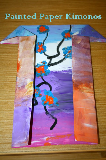 painted kimonos, paper kimono craft, japanese crafts for kids