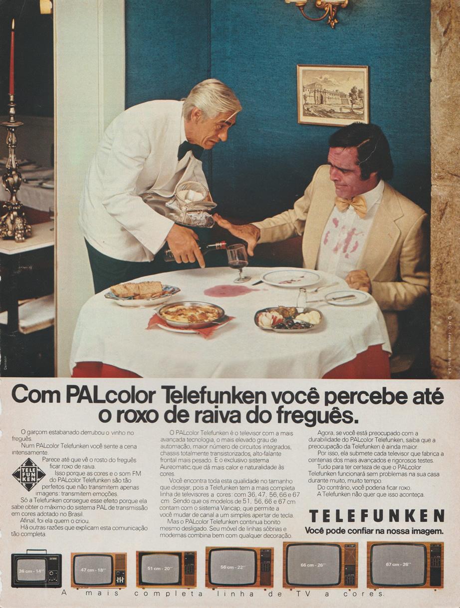 Propaganda antiga que apresentava a linha de televisão a cores da Telefunken nos anos 70
