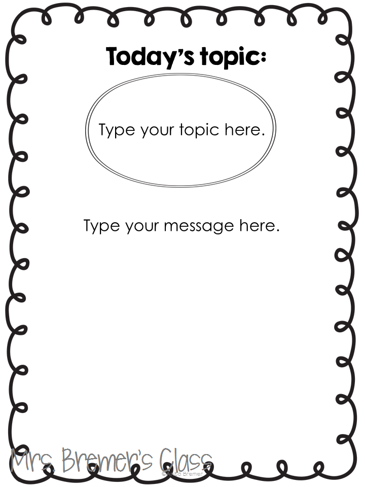 Lots of Kindergarten Morning Message Chart Ideas