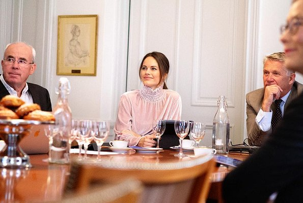 Valentino Tulle High-Neck Sheer Blouse. Kimchi pink Victorian Mock Neck Blouse. Princess Sofia, Duchess of Värmland. Sofia Hellqvist