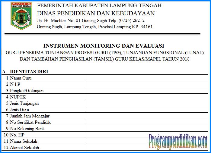 Format Instrumen Monitoring Terbaru Tahun 2018/2019