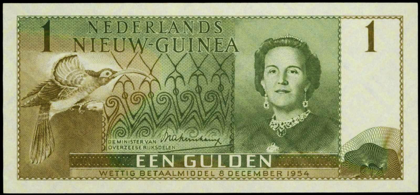 Netherlands New Guinea banknotes 1 Gulden banknote 1954 Queen Juliana