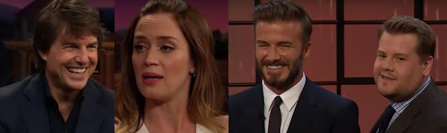 Tom Cruise, Emily Blunt and David Beckham in the James Corden Show