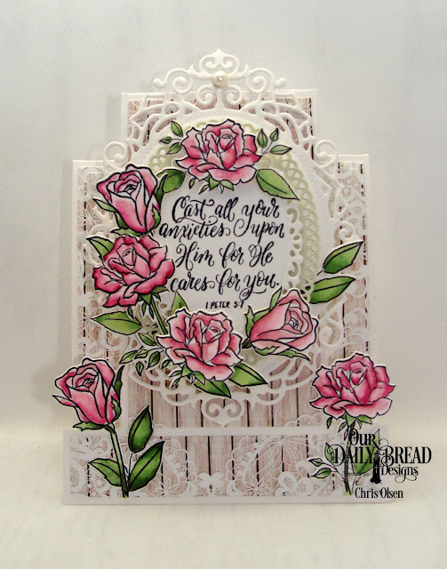 Our daily bread designs, His Love Endures Forerver stamp die duo, Ornate Ovals, Romantic Roses paper, Center Step A2 card, Center Step A2 Card Layer dies, designed by Chris Olsen