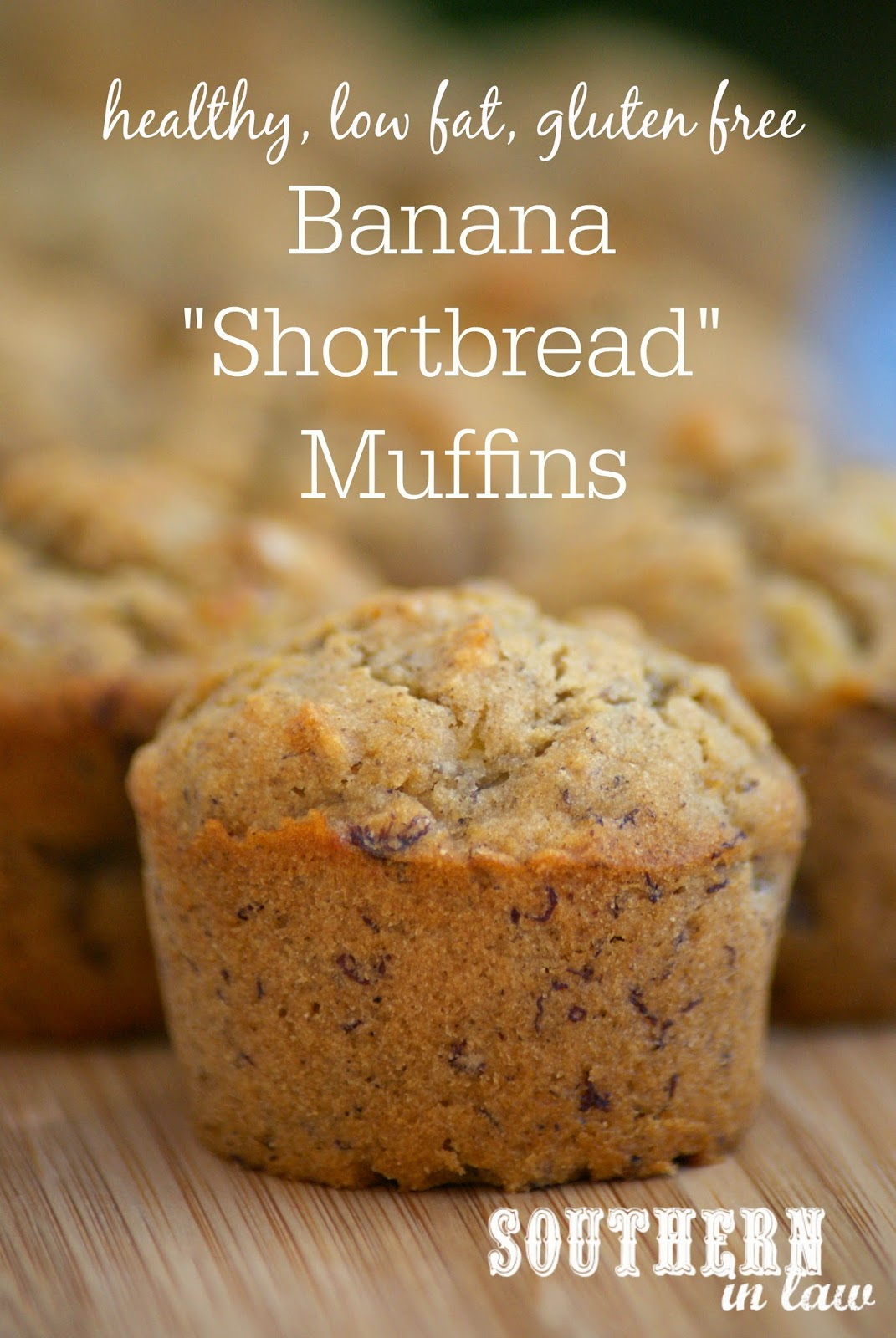 Healthy Banana Shortbread Muffin Recipe - low fat, low sugar, gluten free, egg free, vegan, healthy