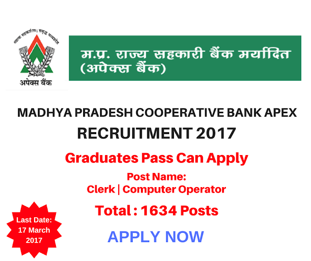 Madhya Pradesh Cooperative Bank Apex Recruitment 2017