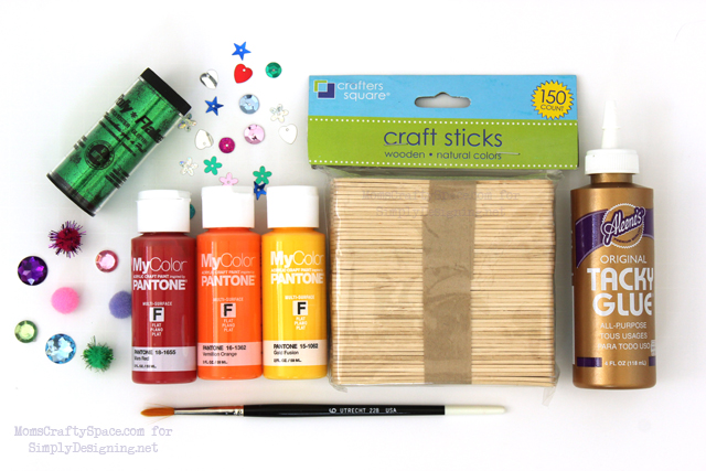 Popsicle Stick Container Supplies - this is a really fun kid craft that has so many uses!  #kidcraft #kidactivity #summer