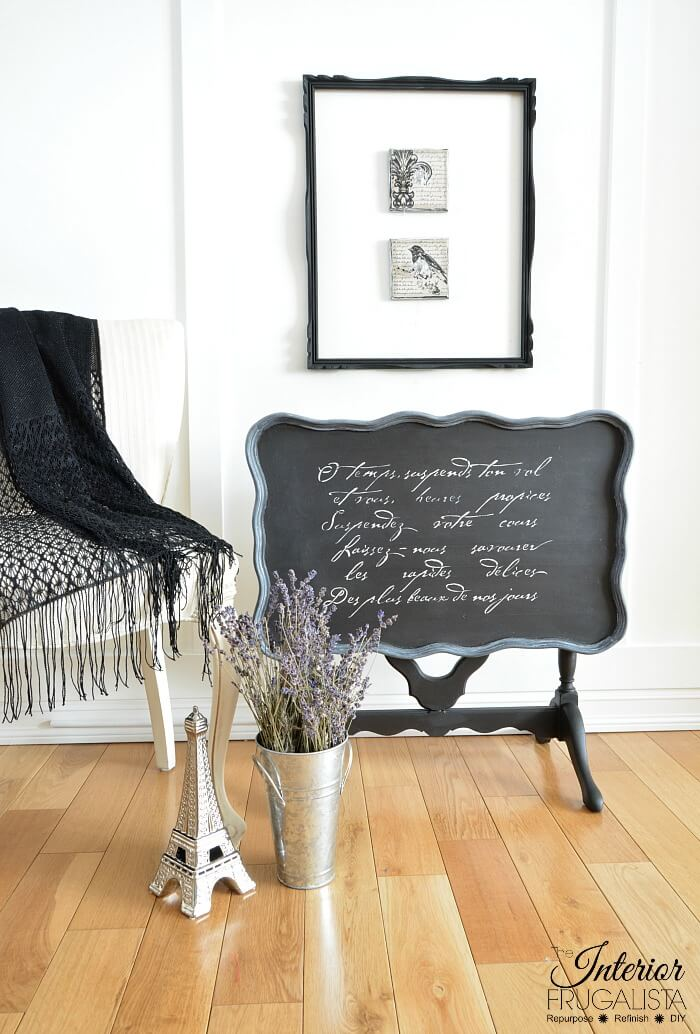 Black Painted Flip Top Table With Stencil