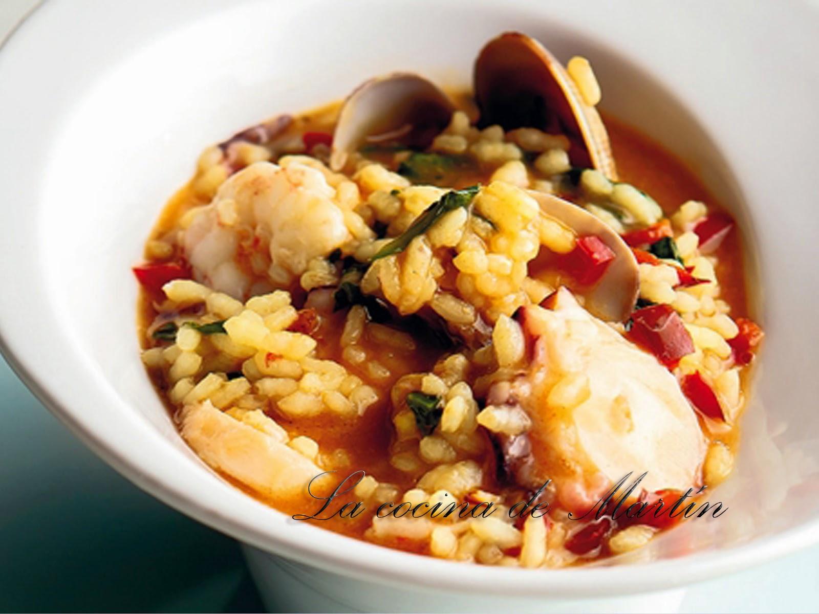 La cocina de mart n arroz caldoso con pulpo almejas y gambas - Arroz con gambas y almejas ...