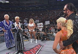 WCW Slamboree 1999 - Ric Flair & Charles Robison (w/ Asya) confront Macho Man and Gorgeous George