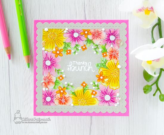 Square Flower Card by Tatiana Trafimovich | Floral Fringe Stamp Set and Frames Squared Die Set by Newton's Nook Designs #newtonsnook #handmade