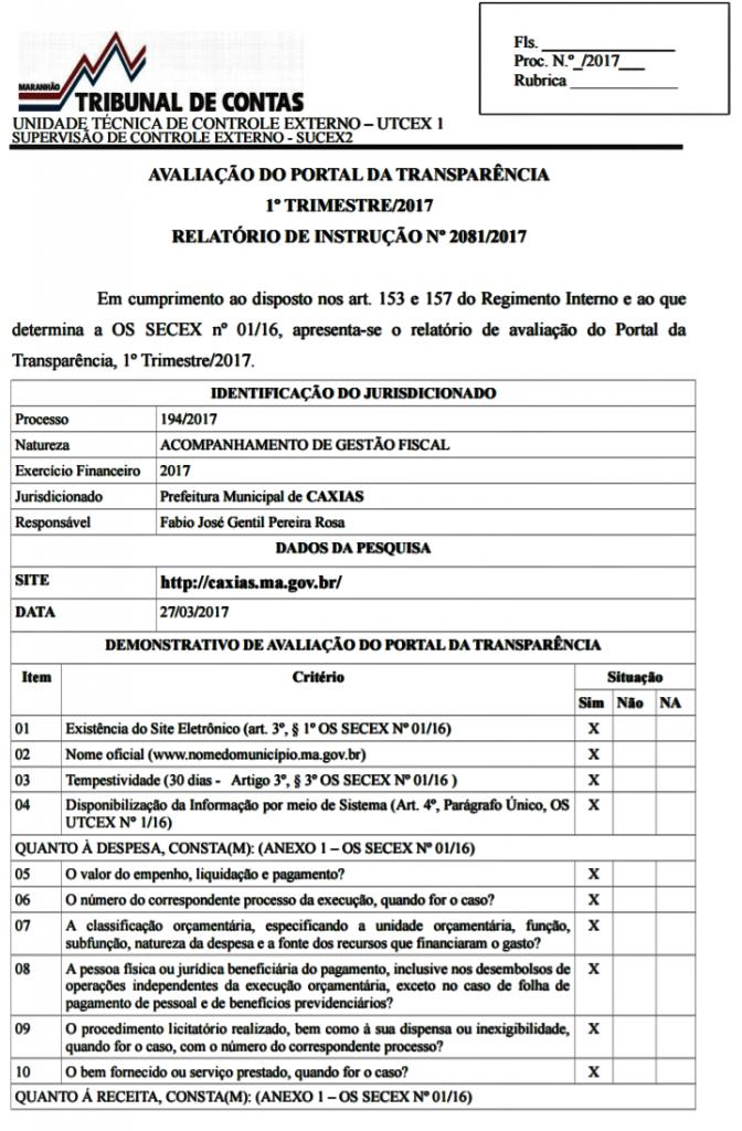 TCE/MA atribui avaliação positiva ao Portal da Transparência de Caxias
