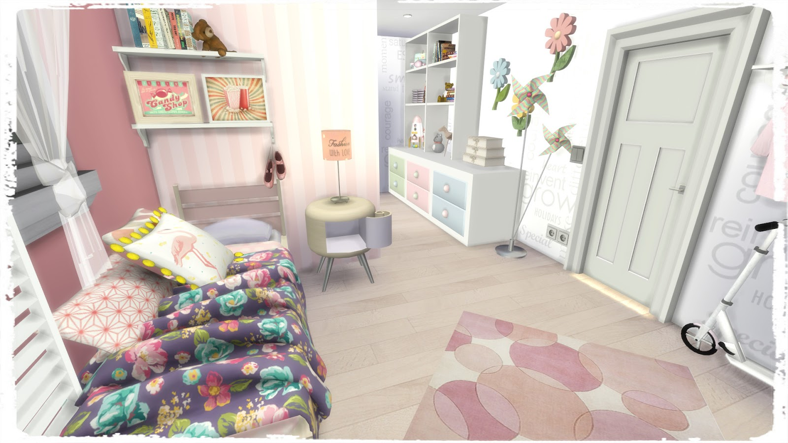 Sims 4 girls bedroom room mods for download dinha for Rooms 4 kids