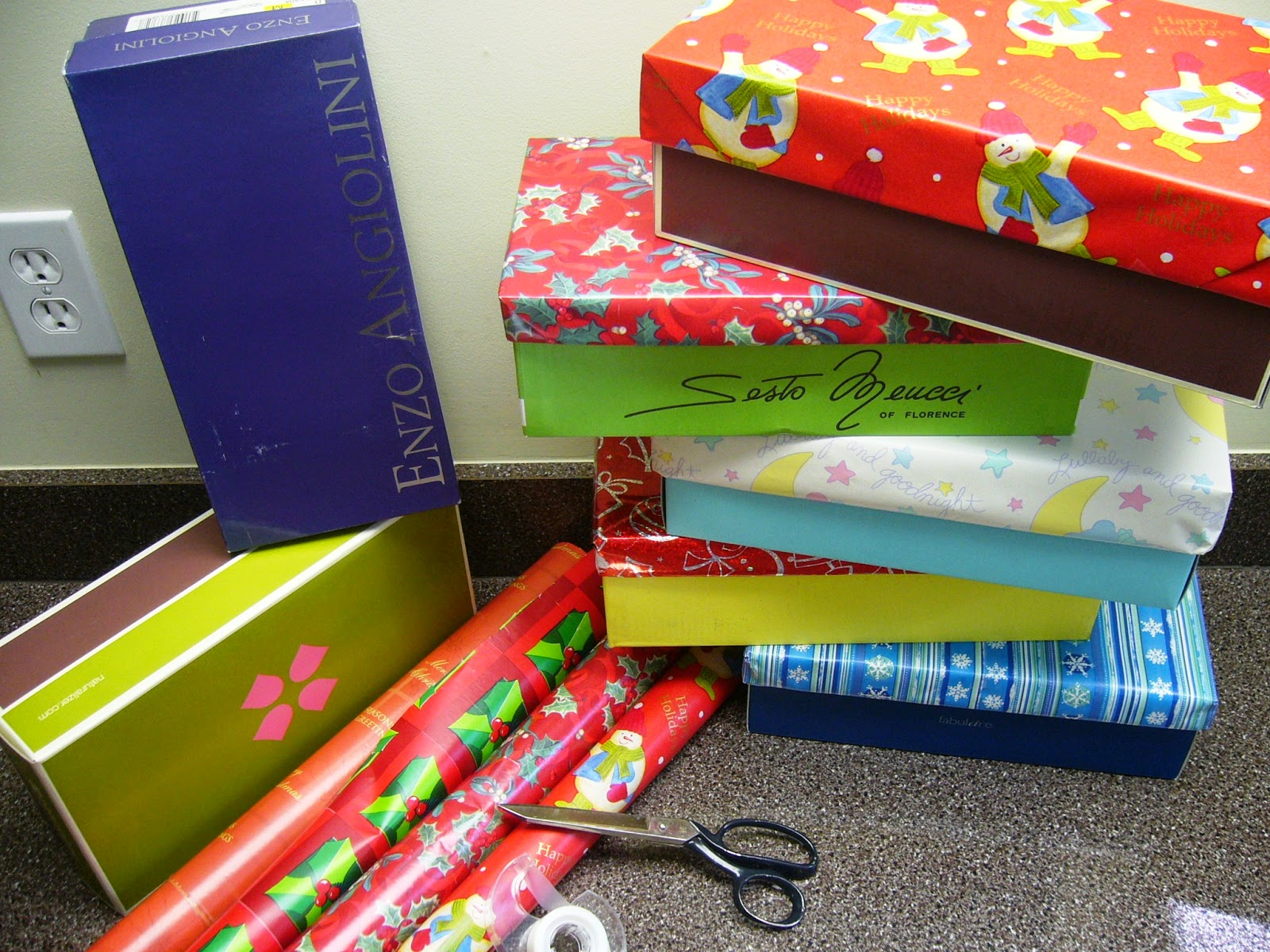 Wrapping shoeboxes for Operation Christmas Child.