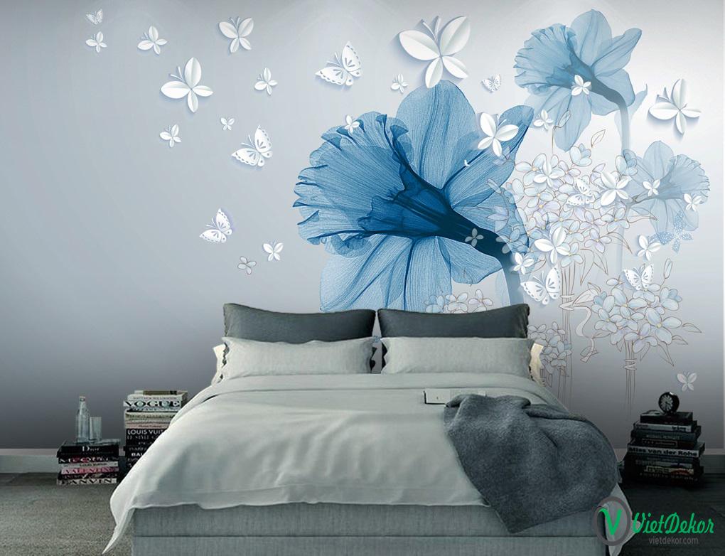 Tranh dán tường 3d hoa trang trí phòng ngủ xinh lung linh